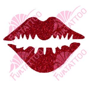 Csókos száj csillámfestő sablon