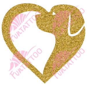 Kutyus szívvel csillámfestő sablon