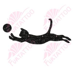 Labdás cica csillámfestő sablon