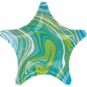 Kék, Zöld Csillag Fólia lufi