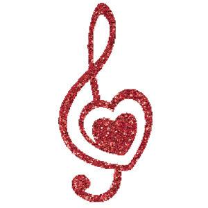 Szíves violinkulcs csillámfestő sablon