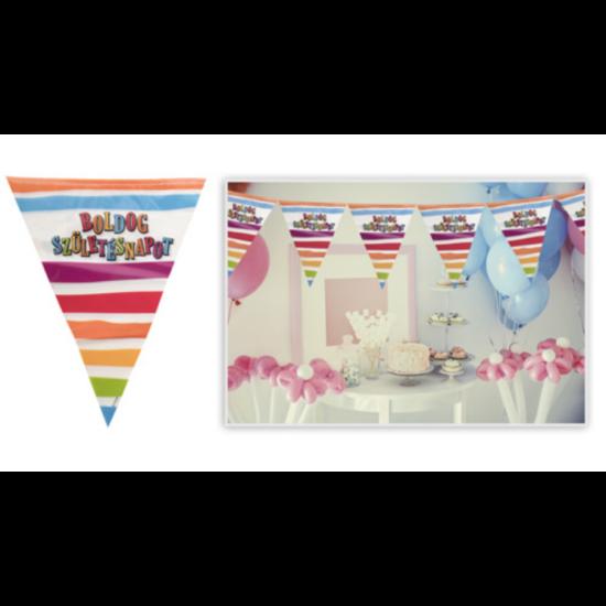 Csíkos-pöttyös Boldog Születésnapot műanyag girland