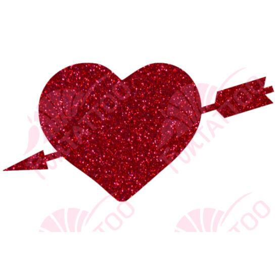 Átlőtt szív csillámfestő sablon